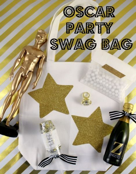 Oscar Party Swag Bag are a must have at your Academy Awards party. Your friends feel like celebrities with a SWAG bag full of treats.