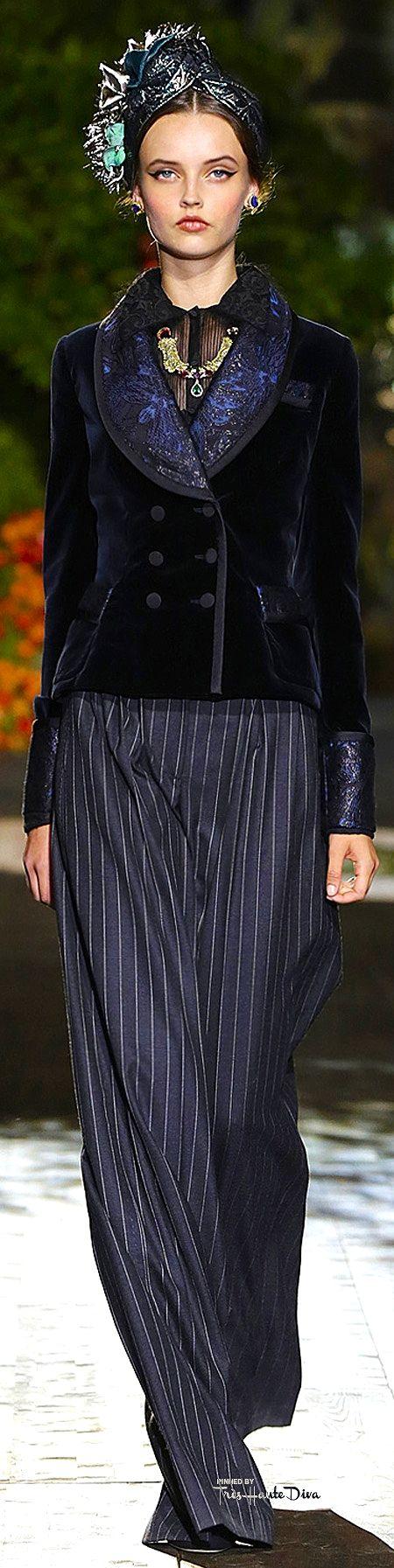 Dolce & Gabbana Alta Moda ~ Navy Embellished Velvet Short Jacket w Pin Striped Trousers,Fall 2015