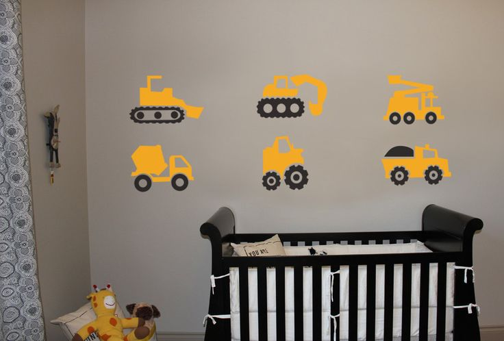 Construction Trucks - Vinyl Wall Art .