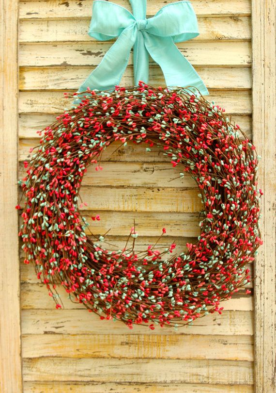 Summer Wreath - Coral Turquoise Berry Wreath - Turquoise Wreath - Door Wreath   After years of working as a Buyer for a national catalog for