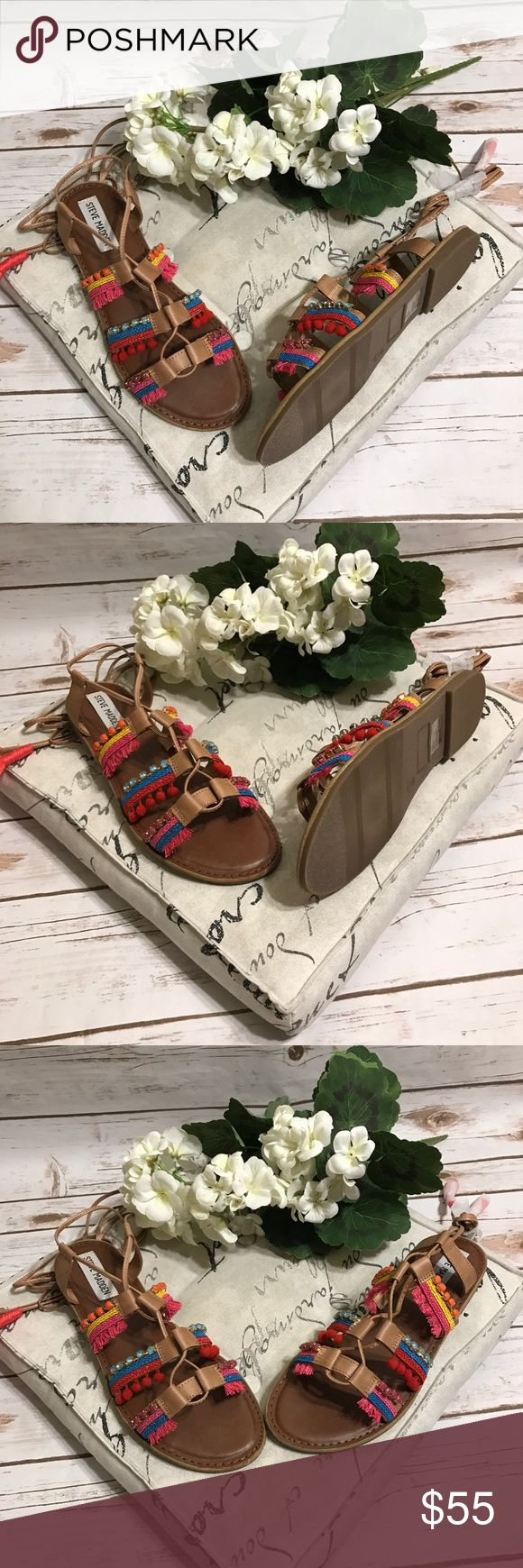 Steve Madden Boho Gladiator Sandal Gorgeous NWT boho Steve Madden strappy gladiator sandals with multicolor pom pins. Size 9. Steve Madden Shoes Sandals