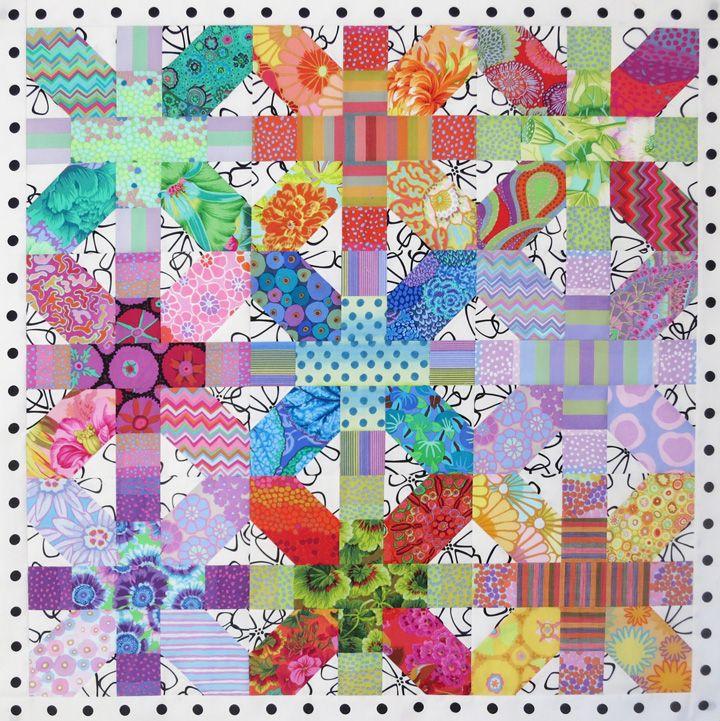 My X Plus quilt top, mostly Kaffe Fassett fabrics. www.christinebarnes.com