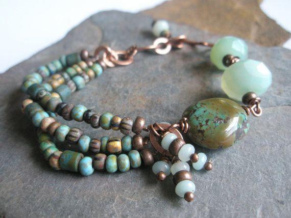 Gemstone Bracelet Turquoise Amazonite Czech Glass by esdesigns65, $60.00
