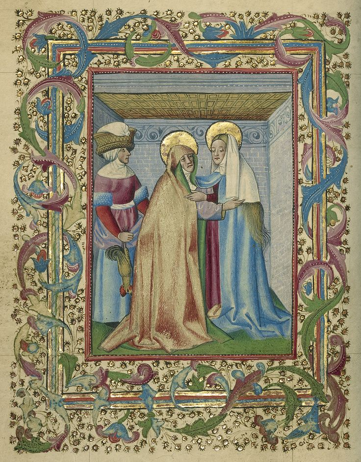 The Visitation, from a book of hours, about 1460, unknown artist. The J. Paul Getty Museum