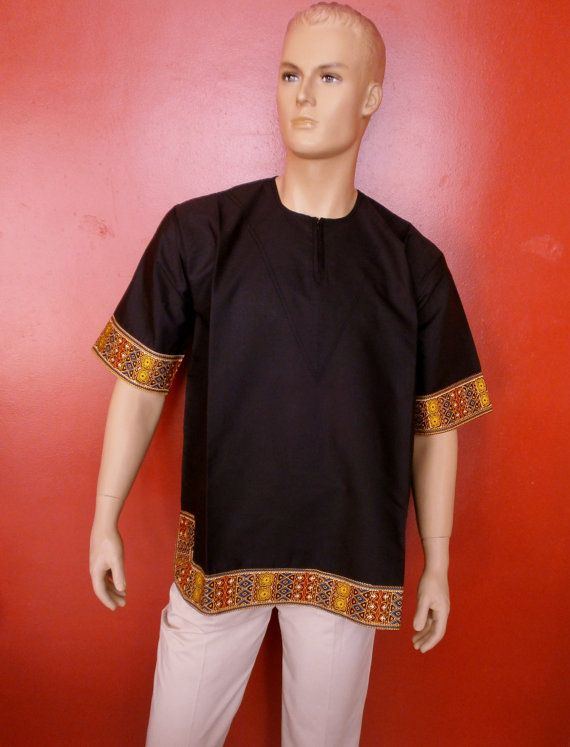 So colored black art shirt dashiki for men trendy gift 2015 must have for gentleman only Gender: Male brand new Material: Cotton Color: Black
