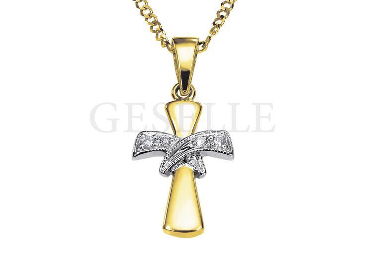 Niezwykle elegancki złoty krzyżyk z żółtego złota z dwoma brylantowymi wstęgami | NA PREZENT \ Komunia Święta ZŁOTO \ Żółte złoto \ Krzyżyki od GESELLE Jubiler