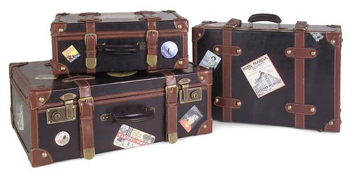 """Labeled Suitcases - Set of 3 5.5-7.5-8""""""""h x 15-18-20.5""""""""w x 9-11.5-14"""""""""""
