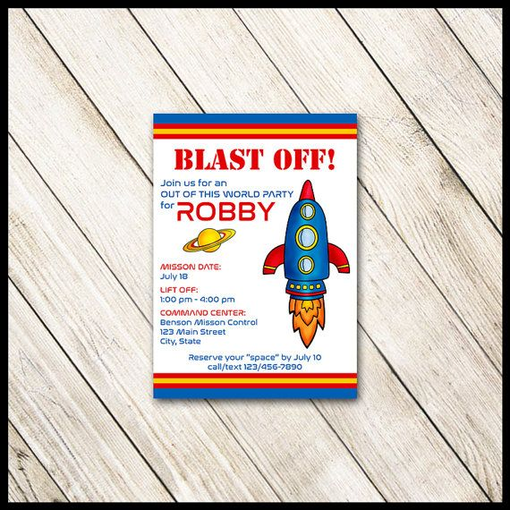 Rocket Ship Birthday Invitation / Red Blue by WrappedToPerfection