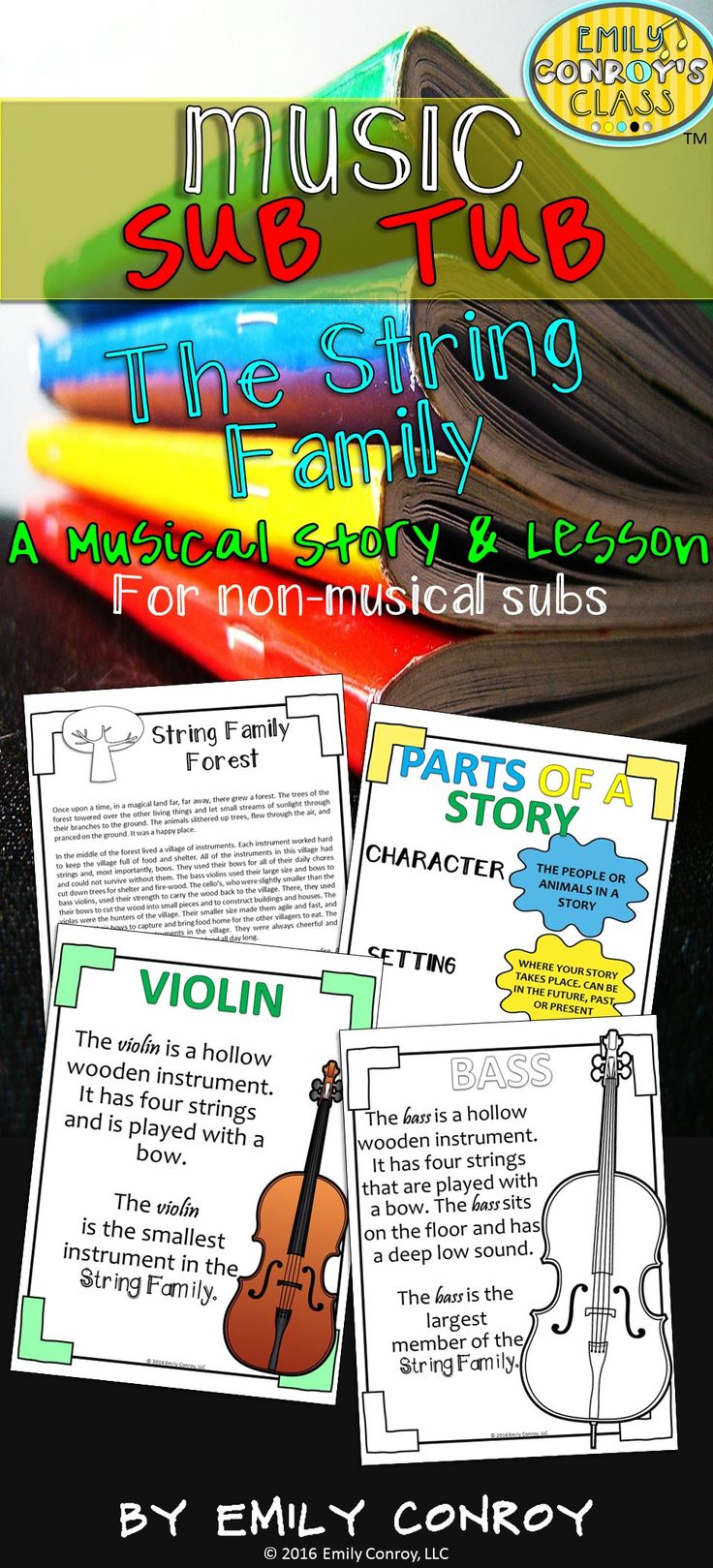 Music Sub Tub contains an original story and accompanying lesson about the string family of the orchestra. This 40 minute lesson can be used by music teachers or music substitutes and is a great way to integrate literacy into the music classroom!