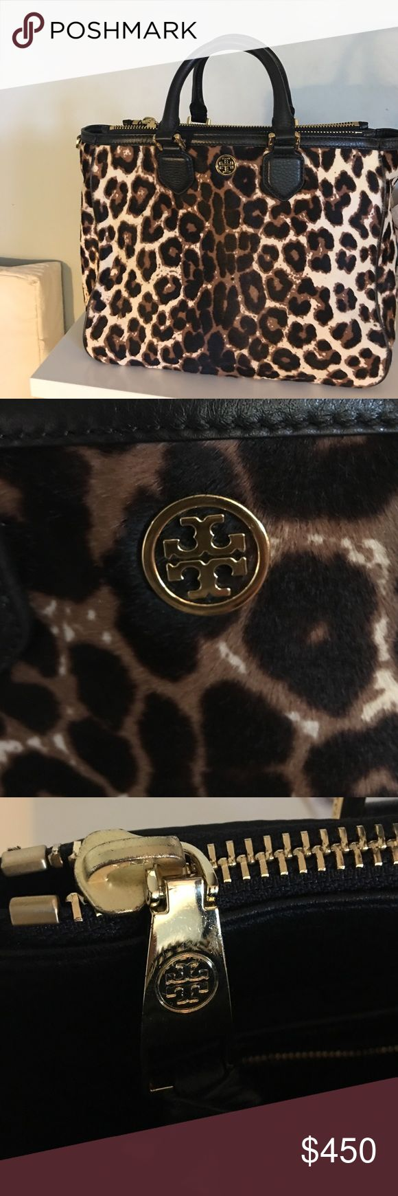 "Tory Burch Leopard Robinson Tote Gorgeous, used only once, Tory Butch pony hair tote. The perfect size, deceptively roomy, this bag is sold out everywhere and impossible to find. Height 10"", width 12"", depth 6inch. Comes with adjustable black leather cross body strap. This bag is in perfect condition! Tory Burch Bags Totes"
