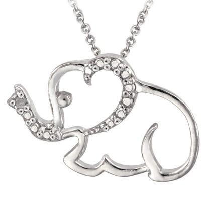 Sterling Silver Diamond Accented Elephant Necklace 18 (Target)