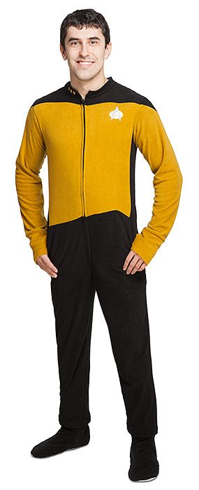 The Star Trek: TNG Data Onesie Lounger will help you complete your human bedtime routine. It has two handy pockets (for communicator, phasers, or tricorders), and the feet even zip off for extra flexibility