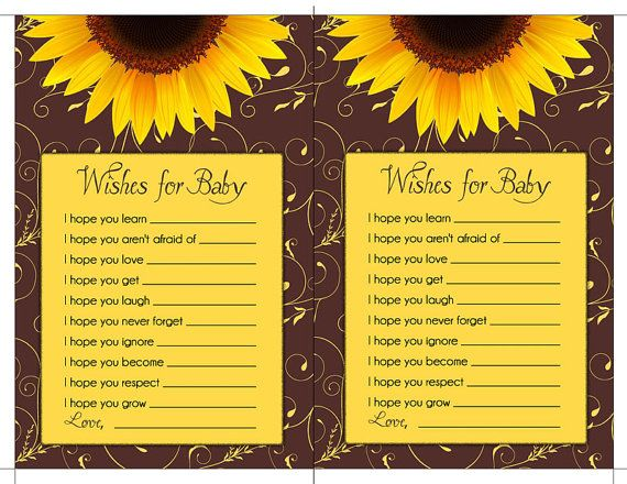SUNFLOWER BABY SHOWER Printable Party Game or Gift - Immediate Download - diy on Etsy, $8.00