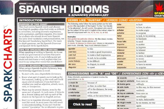 A Spanish-English phrases reference chart for intermediate to advanced Spanish students. The chart is divided into 7 useful sections.