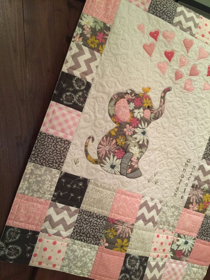 baby quilt pink, chocolate, natural with baby elephant