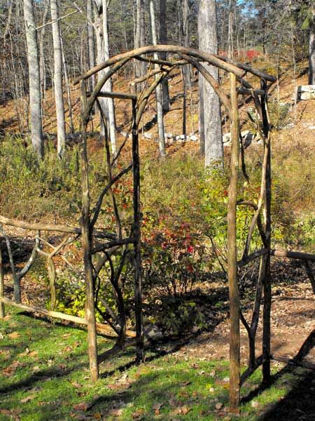 Branch trellis for entrance to veggie garden