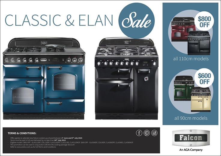 SAVE $800 on 110cm & $600 on 90cm Range Cookers*!  Commencing Monday 1st June 2015 customers can save up to $800 when they purchase a new Falcon Classic or Elan upright range cooker during the promotional period!  Eligible Models are: 110cm Models: ELAS110DF, CDL110DF, CLAS110DFF, CLAS110EI, CLAS110NGF 90cm Models: ELAS90DF, CDL90DF, CLAS90DFF, CLAS90EI, CLAS90NGF  This offer ends Sunday 5th July 2015! Delivery of the cooker must be by Friday 24th July 2015 to remain eligible for the…