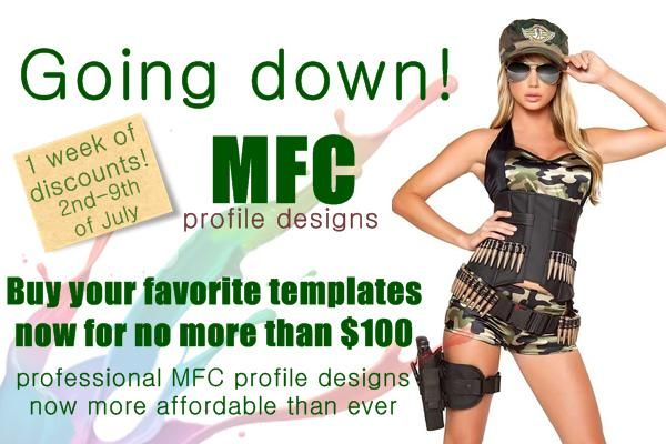MyFreeCams profile designs discounts. 1 week of discounts for MFC models and studios. http://shop.design-xpro.com/