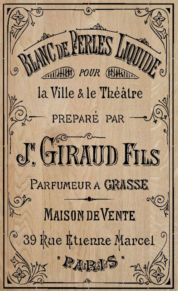 French Stencil  Large Perfume  3 stencils  by MoreThanWordsVinyl, $65.00 etiqueta postal sepia giraud blanc de perles
