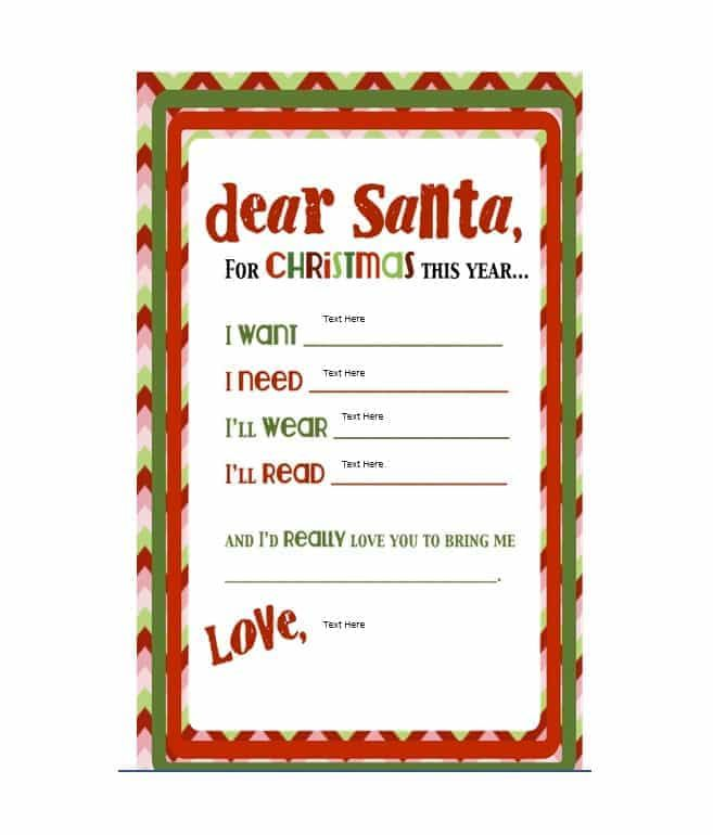 Christmas Wish List Templates 14 Free Printable Word