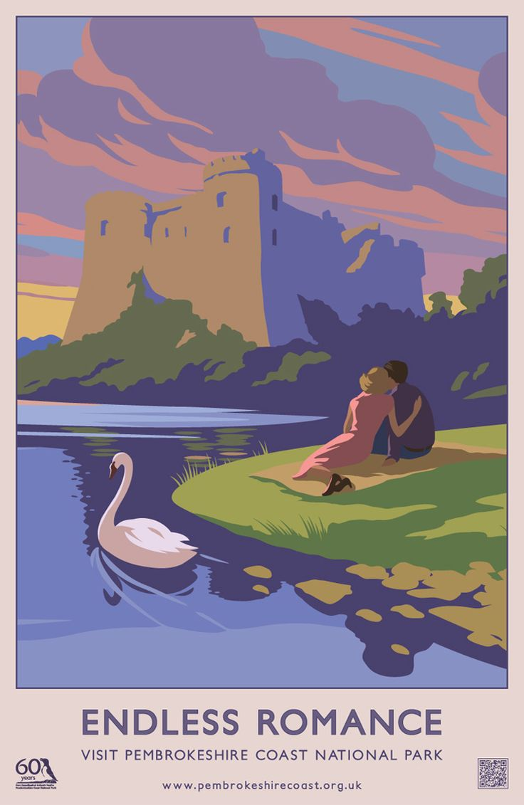 """Endless Romance"" Pembrokeshire Coast National Park Railway Travel Poster (AddoCreative)"