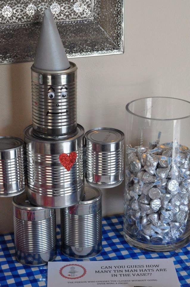 DIY tin man and party game. Guess how many tin man hats with Hershey kisses. Wizard of oz birthday party.