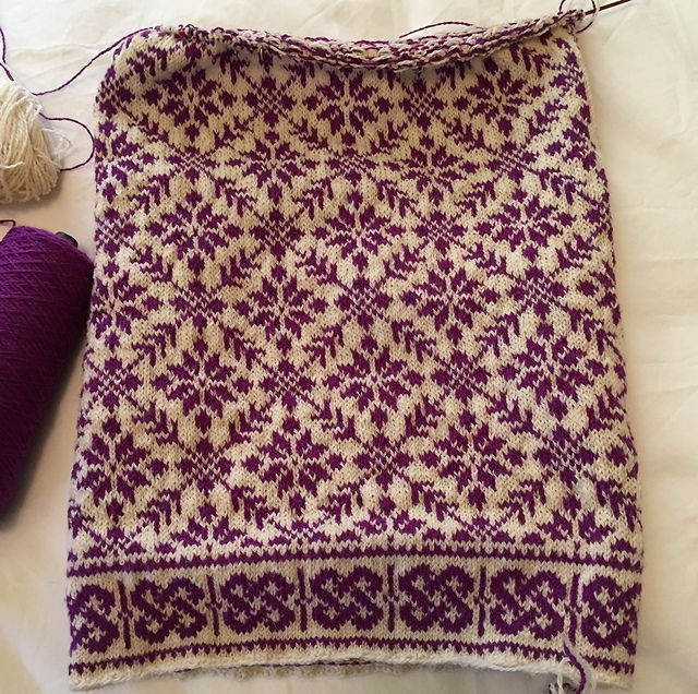 Ravelry: soxnsox's Shawl in plum on cream