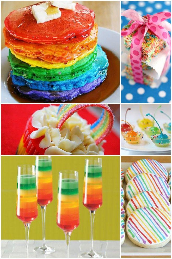 So many ideas.Birthday, Food Colors, Stpatricksday, Rainbows Pancakes, St Patricks Day, Parties Ideas, Rainbows Parties, Rainbows Food, Rainbow Parties