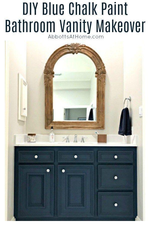 Diy Chalk Paint Bathroom Vanity Makeover Abbotts At Home Bathroom Vanity Makeover Painted Vanity Bathroom Blue Bathroom Vanity