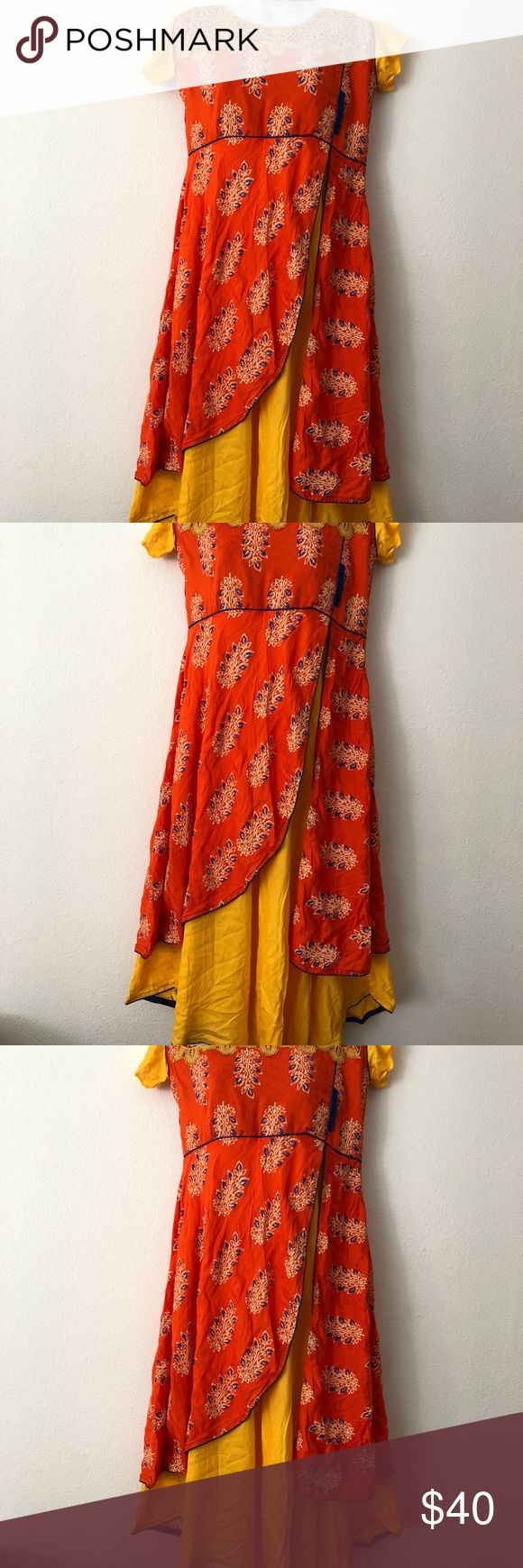 New kurti for sale Brand New boat neck kurti,  Orange and color layered kurti with blue piping around the edges and beautiful yellow color lace around the neck Tops Tunics