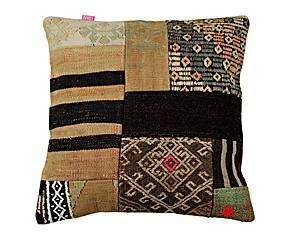Cojín cuadrado de patchwork en lana 100% Vintage