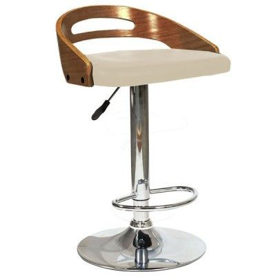 Seville Faux Leather Swivel Barstool  Features:  19 x 17.75 x 29 – 37″ Adjustable Seat Height: 24 – 32″H 45cm diameter Base for Stability Walnut Bentwood Available Colors: Cream or Black