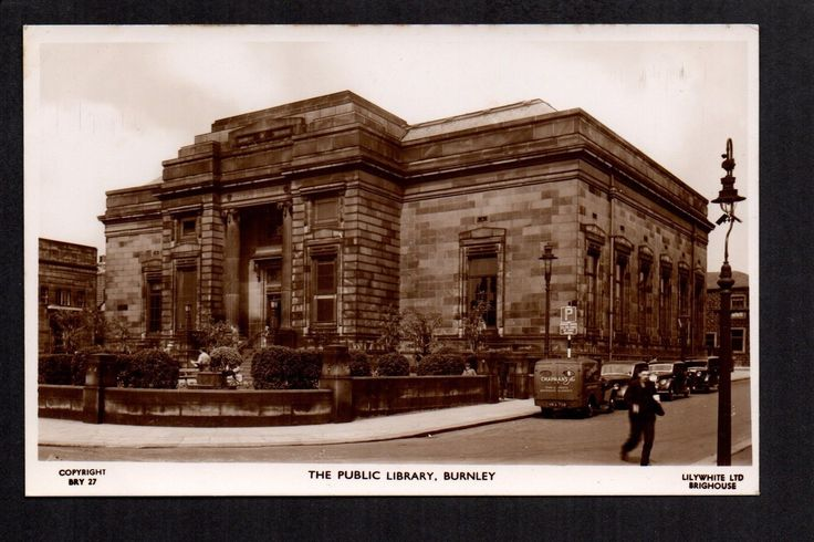 Burnley - The Public Library - plain back real photographic postcard size card | eBay