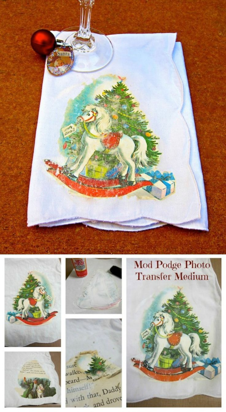 Mod Podge Photo Transfer Christmas napkin using a vintage image