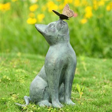 Curiosity Cat Butterfly Garden Sculpture Metal Verdi Green Kitty Statue 15 H