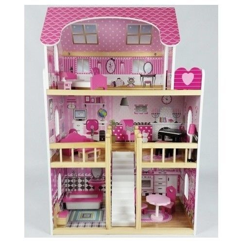 Doll House Kit Wooden Furniture Accessories 3 Storey Children Collective Toys