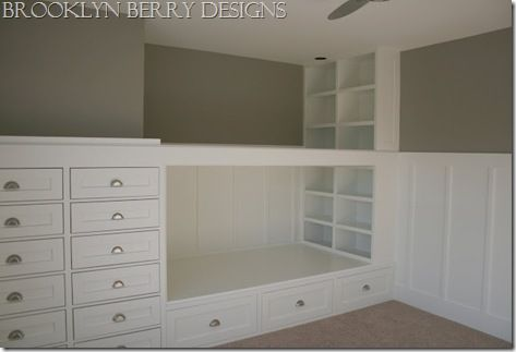 built in dresser and bunk beds - you could build a closet on the end instead of a dresser if you wanted