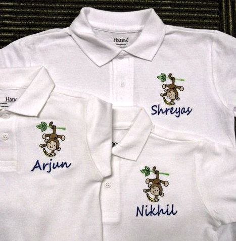 For the Monkey Lovers - Family Shirts - Personalised Polo Shirt embroidery by ThatCornerShop. #personalisedgifts #birthdaygifts #giftsforhim #giftsforher #giftideas #embroidery
