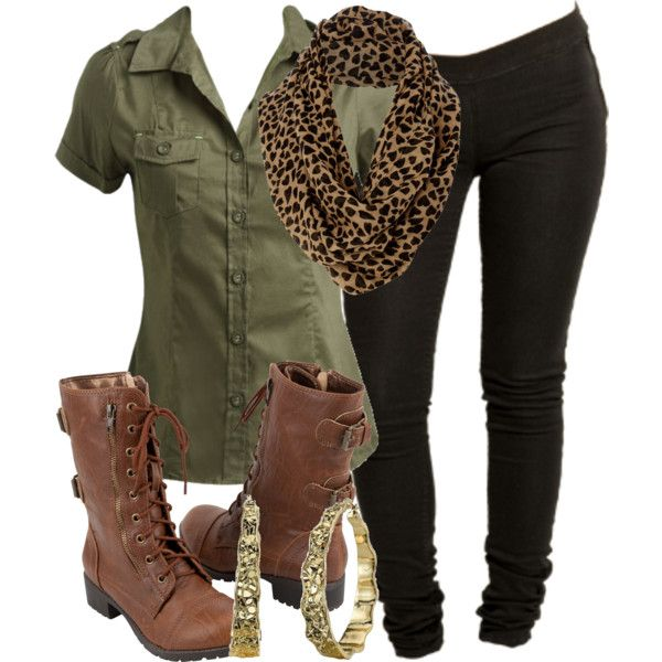 : Outfits, Olive Green, Fashion, Style, Safari Outfit, Casual, Infinity Scarf, Brown, Boots