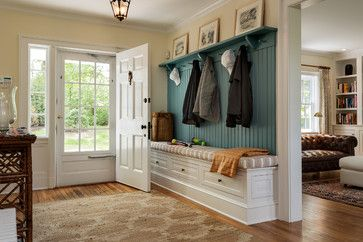 Mudroom style entry - Built-in bench, bead board, pegs & shelf - Sears Home Renovation - from Houzz