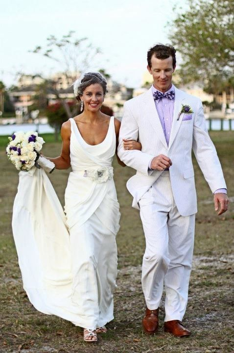 Pinstripe Cream And Ivory Seersucker Suit For The Groom Pair With A Purple Bowtie Beach Wedding Dress