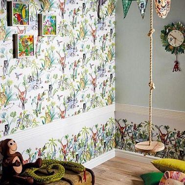 Дизайн интерьера детской комнаты. В нашей средней полосе редко бывают теплые деньки, поэтому данный принт на обоях позволит вашему ребенку пофантазировать о приключениях в жарких странах. А хорошие мечты обязательно сбудутся!
