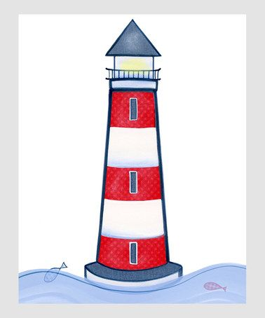 Take a look at this Navy Blue & Red Lighthouse Print by Farmhousefive Art for Kids on #zulily today!