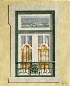 MALUDA - Janela XXVIII (Tejo)  Óleo sobre tela, 1987, 61x50cm  Colecção particular