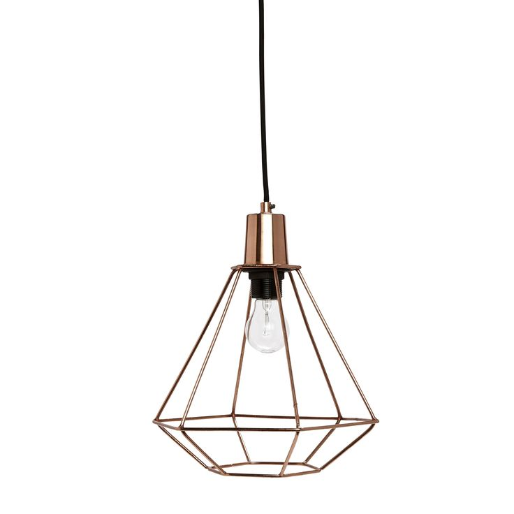 Trendy Diamond Shape Copper Lamp With Black Wire From Hubsh Interior