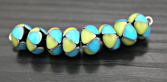 Blue and Lime Green Harlequin Pattern Handmade by blancheandguy, $46.00