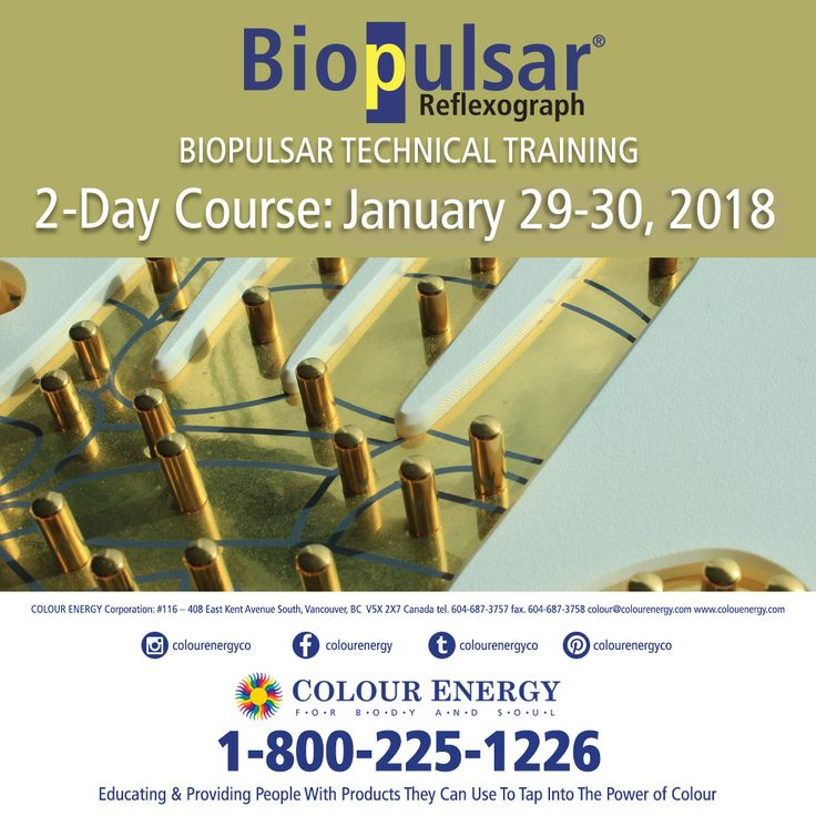 Biopulsar Technology Training Evolve your practice by offering an accurate and thorough mind-body-spirit check-up! Discover why the Biopulsar-Reflexograph® is the most revolutionary holistic device in the field of energy medicine and diagnostics; and why professionals are choosing the Biopulsar over other types of measuring devices. 2-Day Course January 29-30, 2018 #colourenergy
