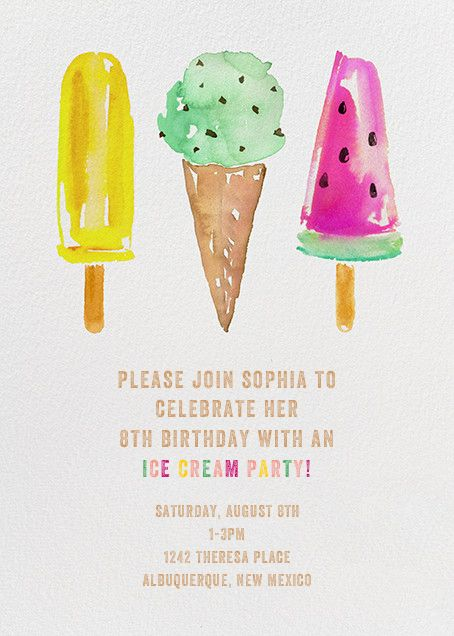 Ice Cream Party by kate spade new york for Paperless Post. Online invitations for kids' birthdays made with easy-to-use design tools and RSVP tracking. View other kids' party invitations on paperlesspost.com.