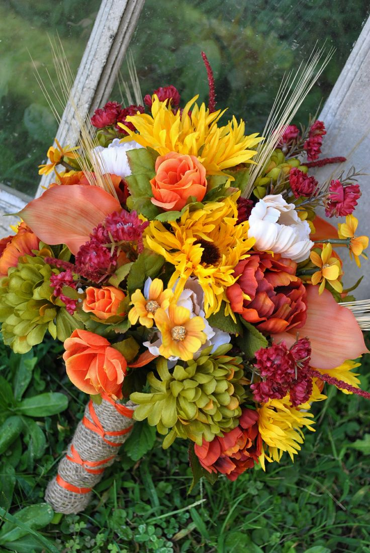 Silk bouquet of fall flowers