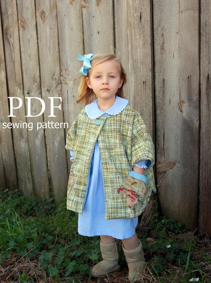 Gwendolyn - Girl's Cape Pattern. Easy Girl's Sewing Pattern. Toddler Sewing Pattern. Sizes 1-10. $7.95, via Etsy.